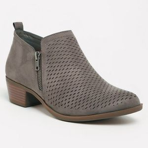 TORRID! TAUPE PERFORATED ANKLE BOOTIE (WIDE WIDTH)